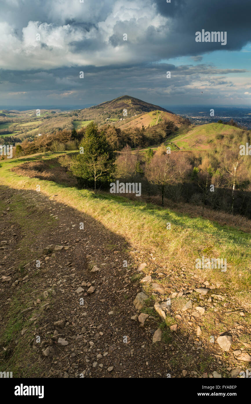 The footpath on Pinnacle hill leads through the clouds that rise over Jubillee Hill and Perseverance Hill after Stock Photo