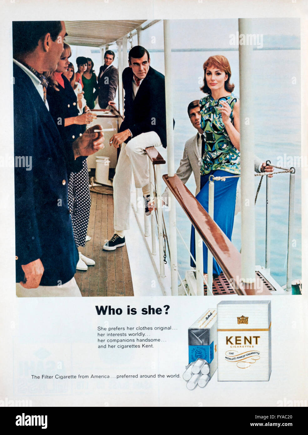 1960s magazine advertisement advertising Kent cigarettes. - Stock Image