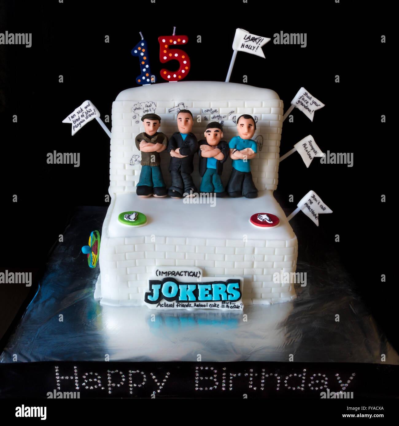 Homemade Novelty Themed Birthday Cake For The Impractical Jokers TV Series