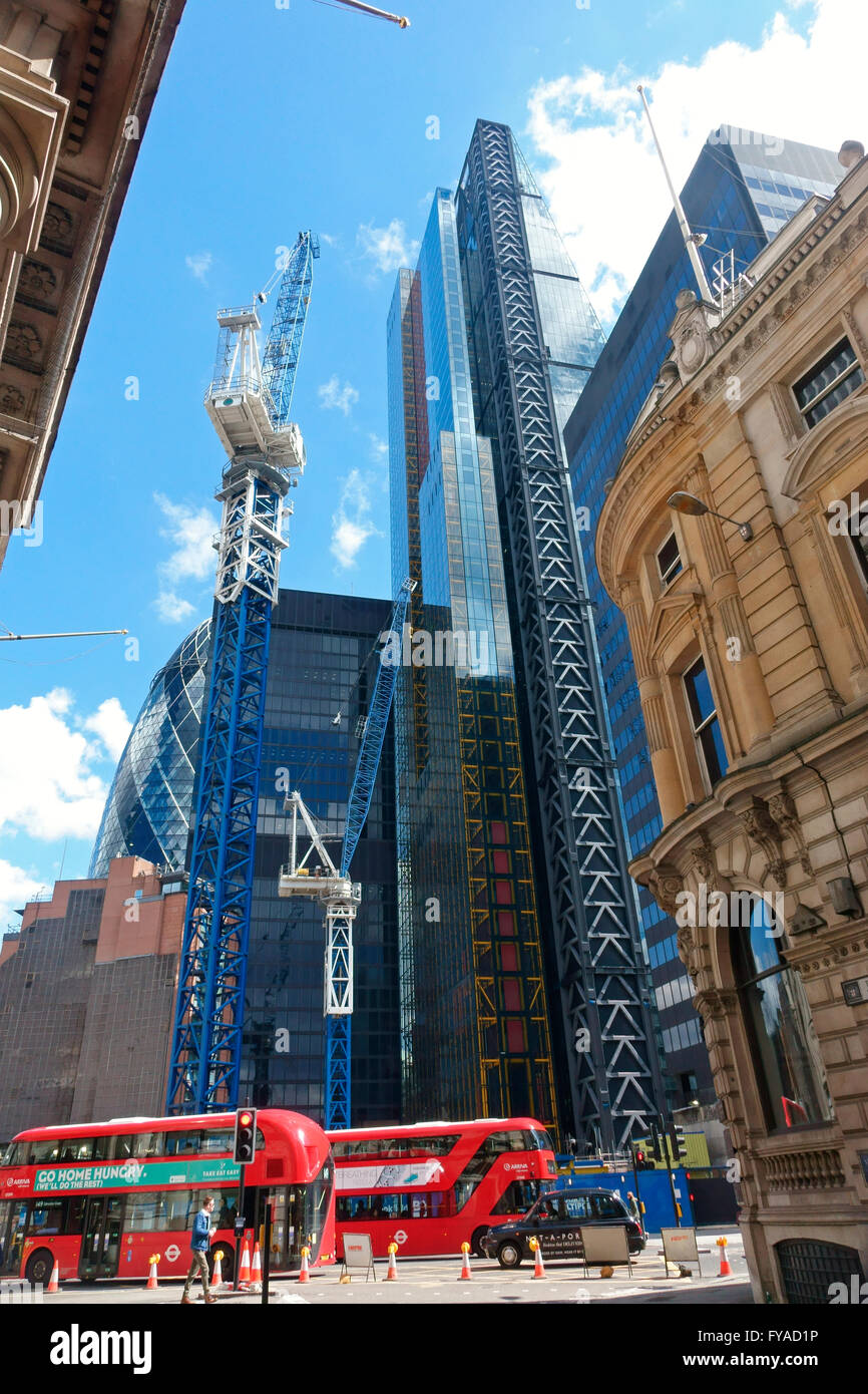City of London view from Threadneedle Street of building site for another new tower block in the financial district, - Stock Image