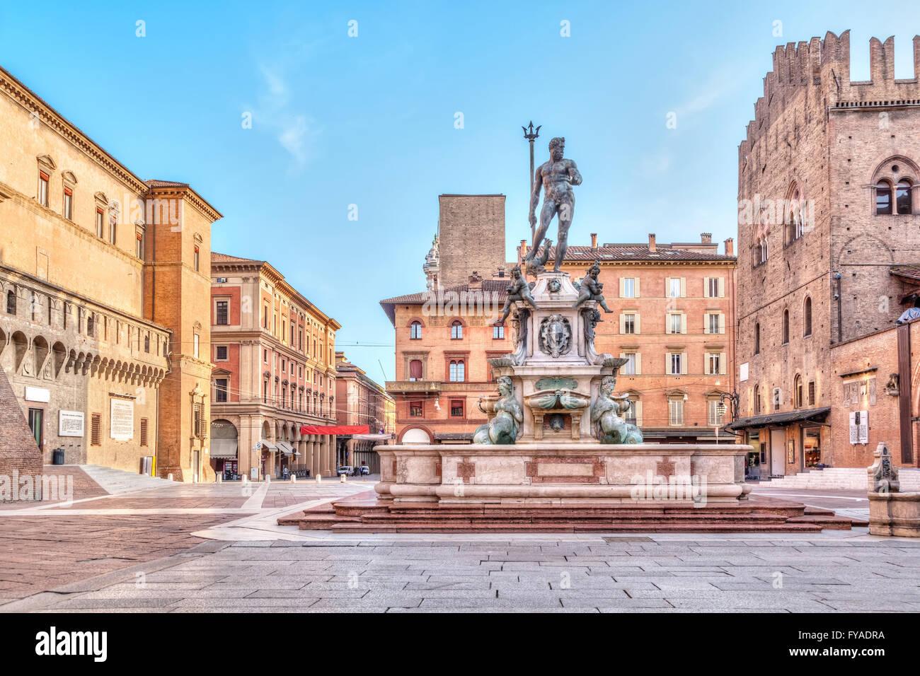 Piazza del Nettuno square in Bologna, Emilia-Romagna, Italy - Stock Image
