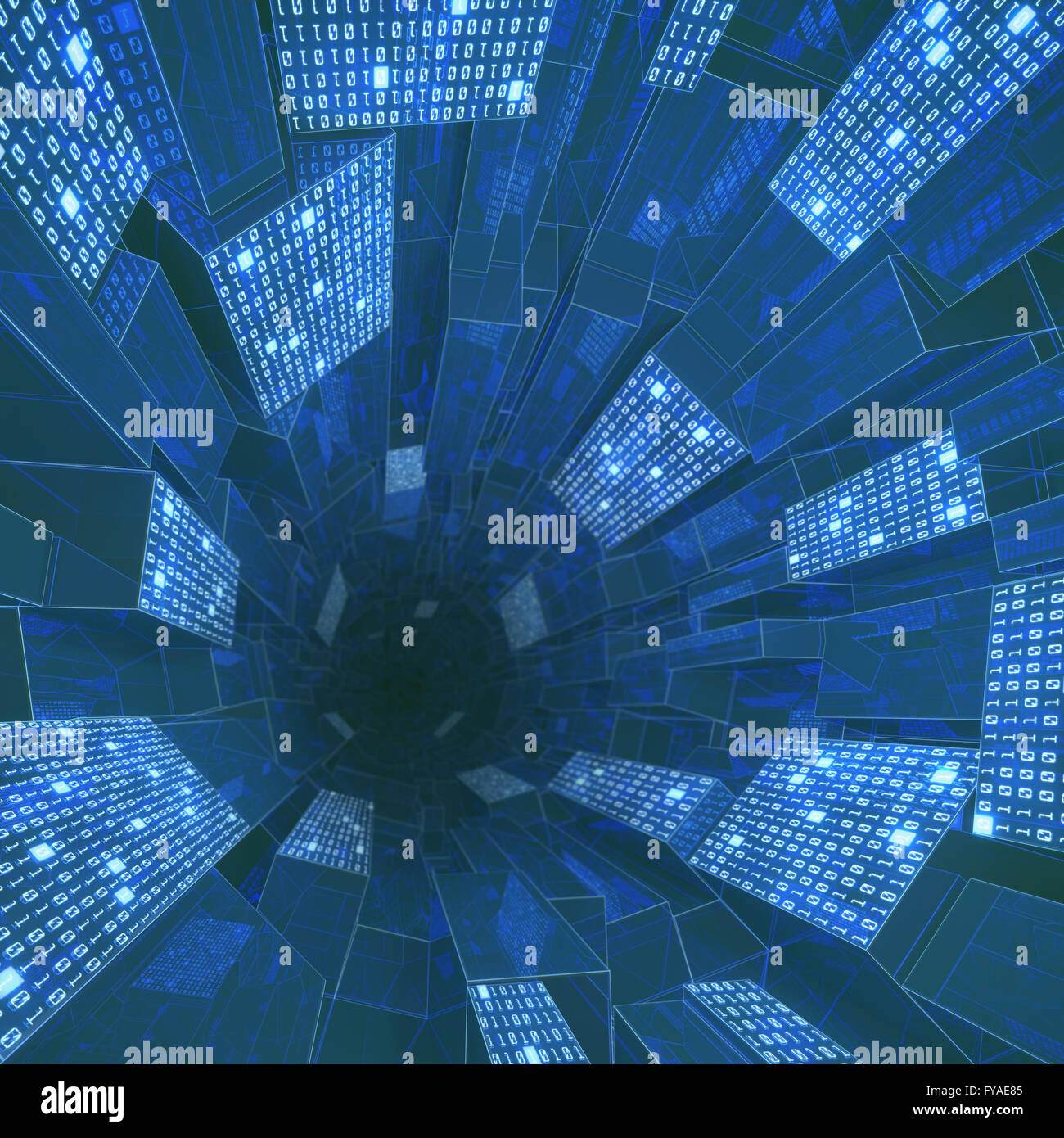 Tunnel composed by zeros and ones in a concept of cloud computing, data storage and processing. - Stock Image