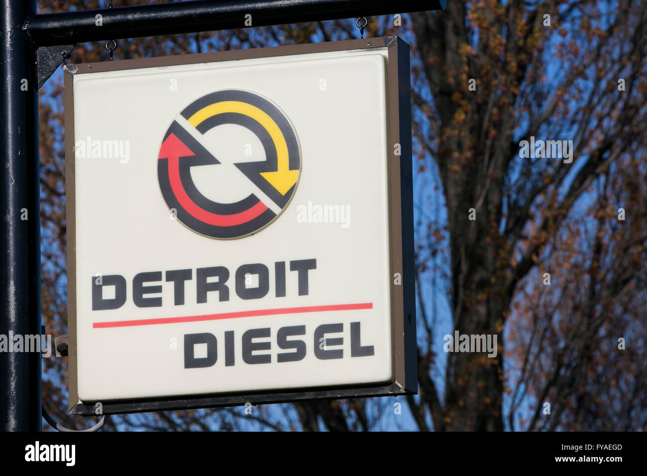 A logo sign outside of a facility occupied by Detroit Diesel in Carlisle, Pennsylvania on April 17, 2016. - Stock Image