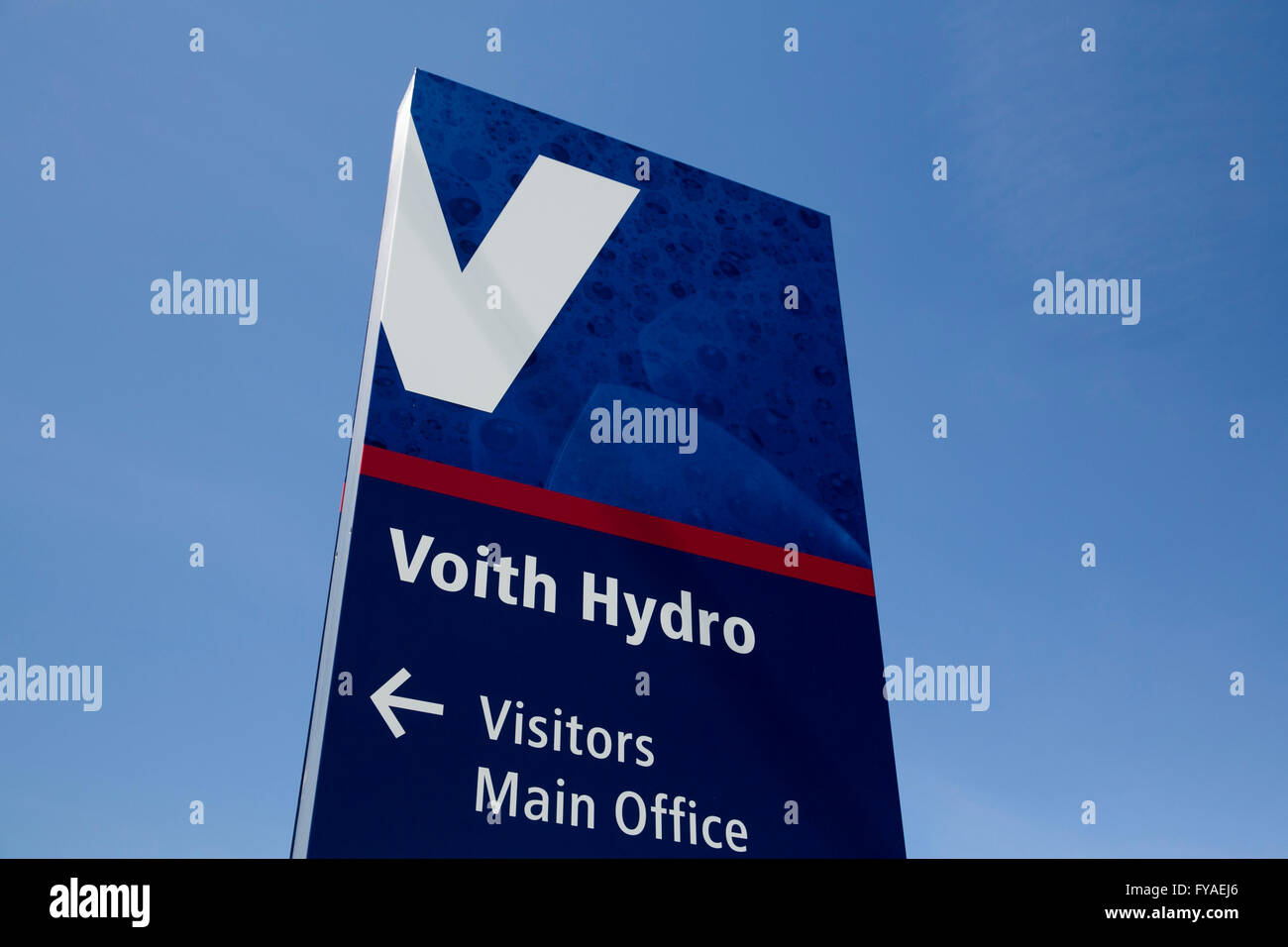 A logo sign outside of the headquarters of Voith Hydro in York, Pennsylvania on April 17, 2016. - Stock Image