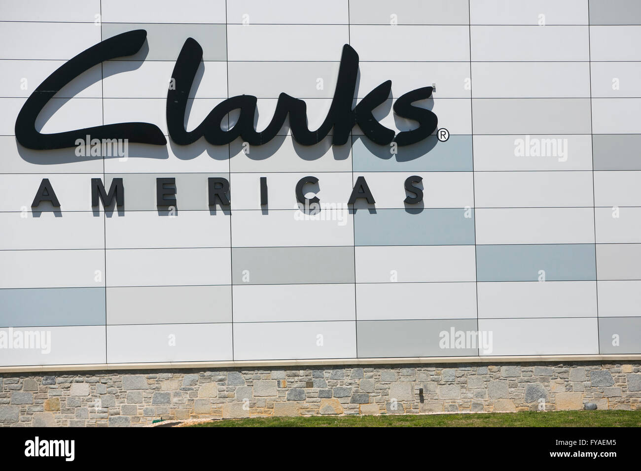 A logo sign outside of a facility occupied by the shoe manufacturer Clarks Americas in Hanover, Pennsylvania on - Stock Image