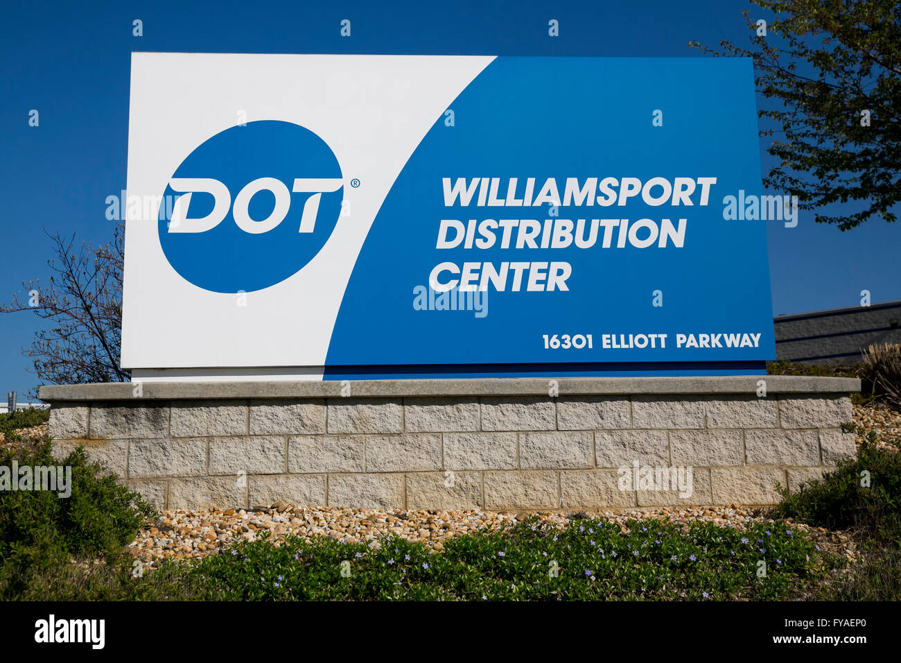 A logo sign outside of a facility occupied by Dot Foods, Inc., in Williamsport, Maryland on April 17, 2016. - Stock Image