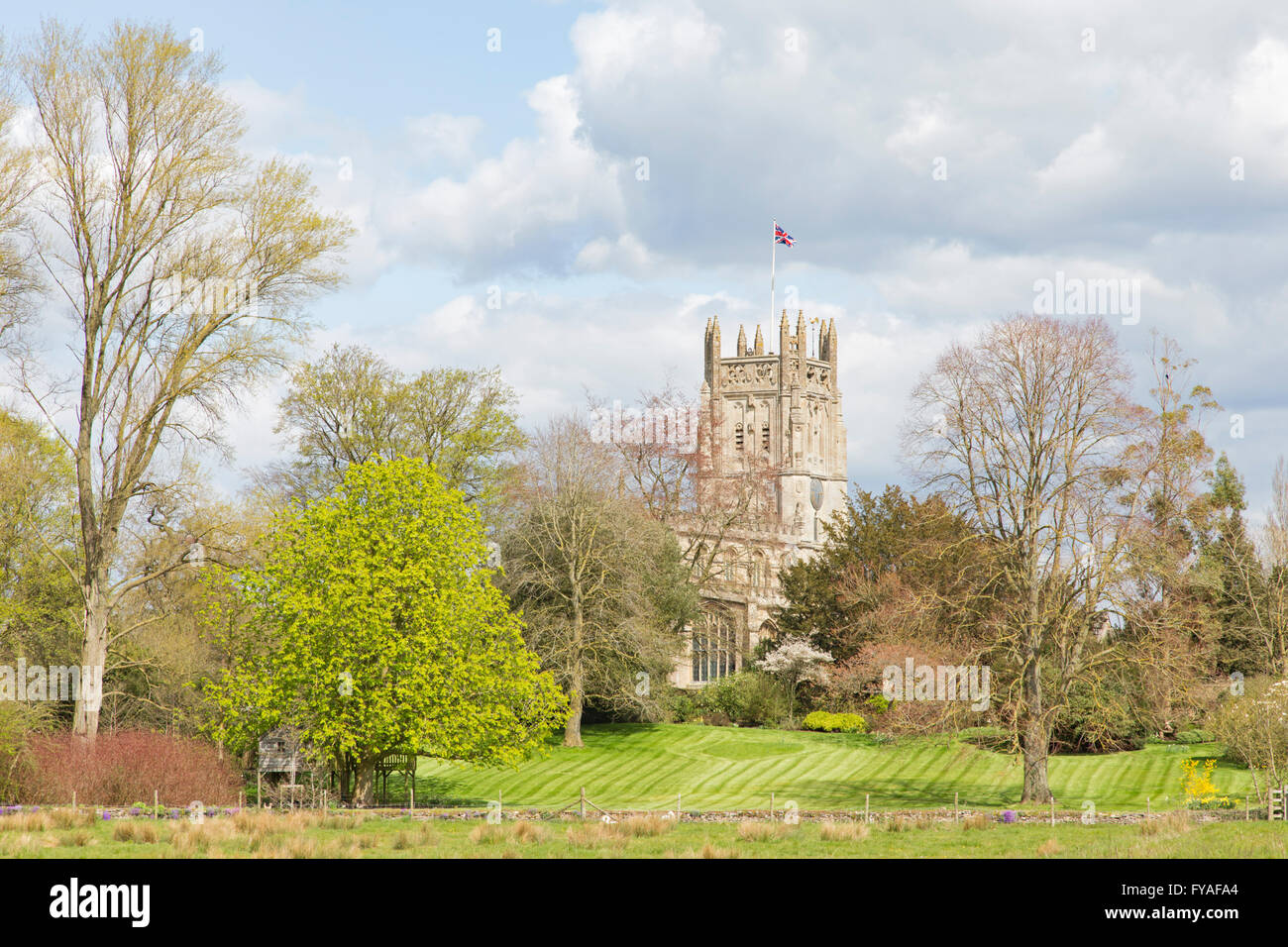 St Mary's church, Fairford, the Cotswolds, Gloucestershire, England, UK - Stock Image