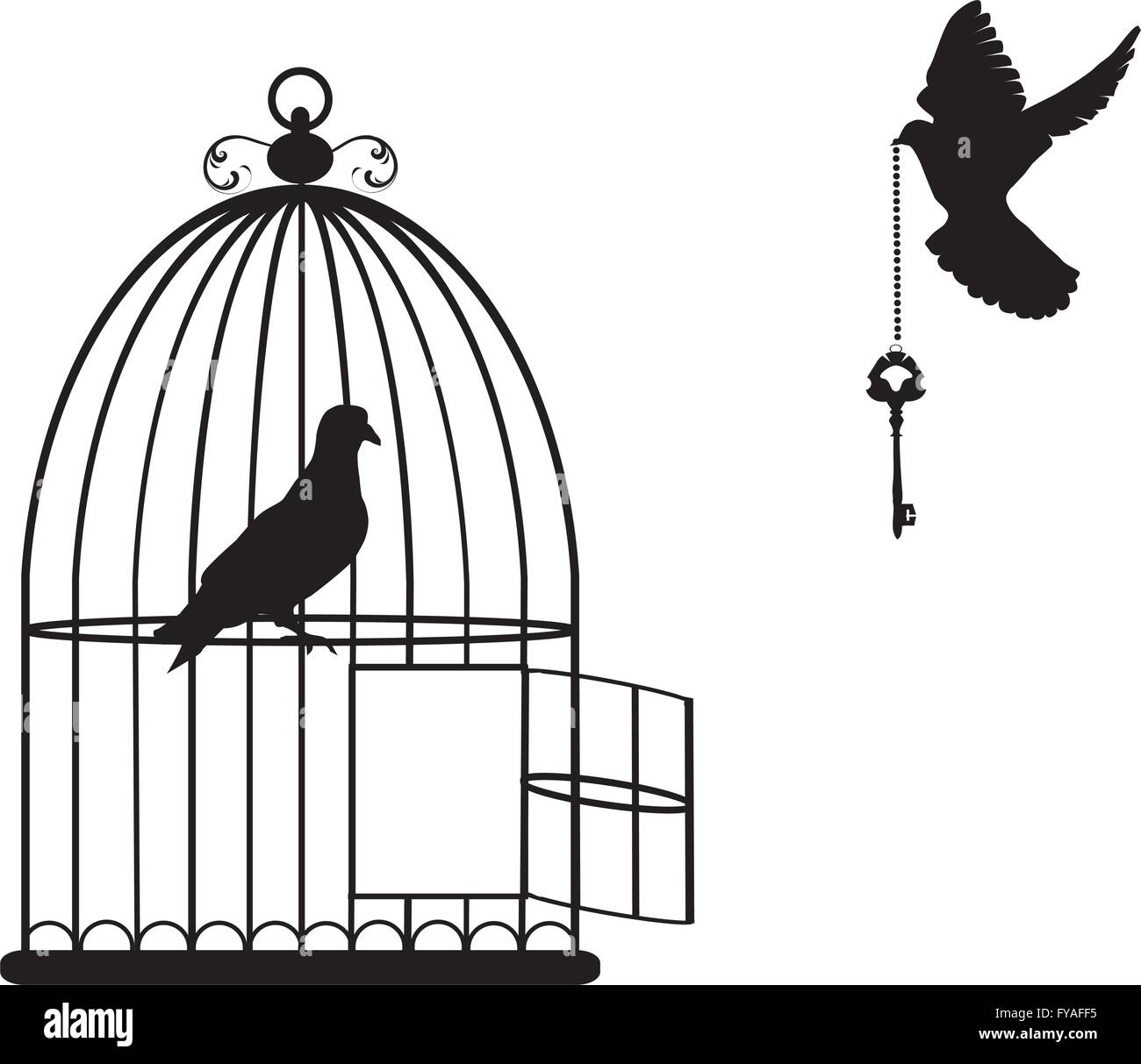 bird cage open stock vector images alamy
