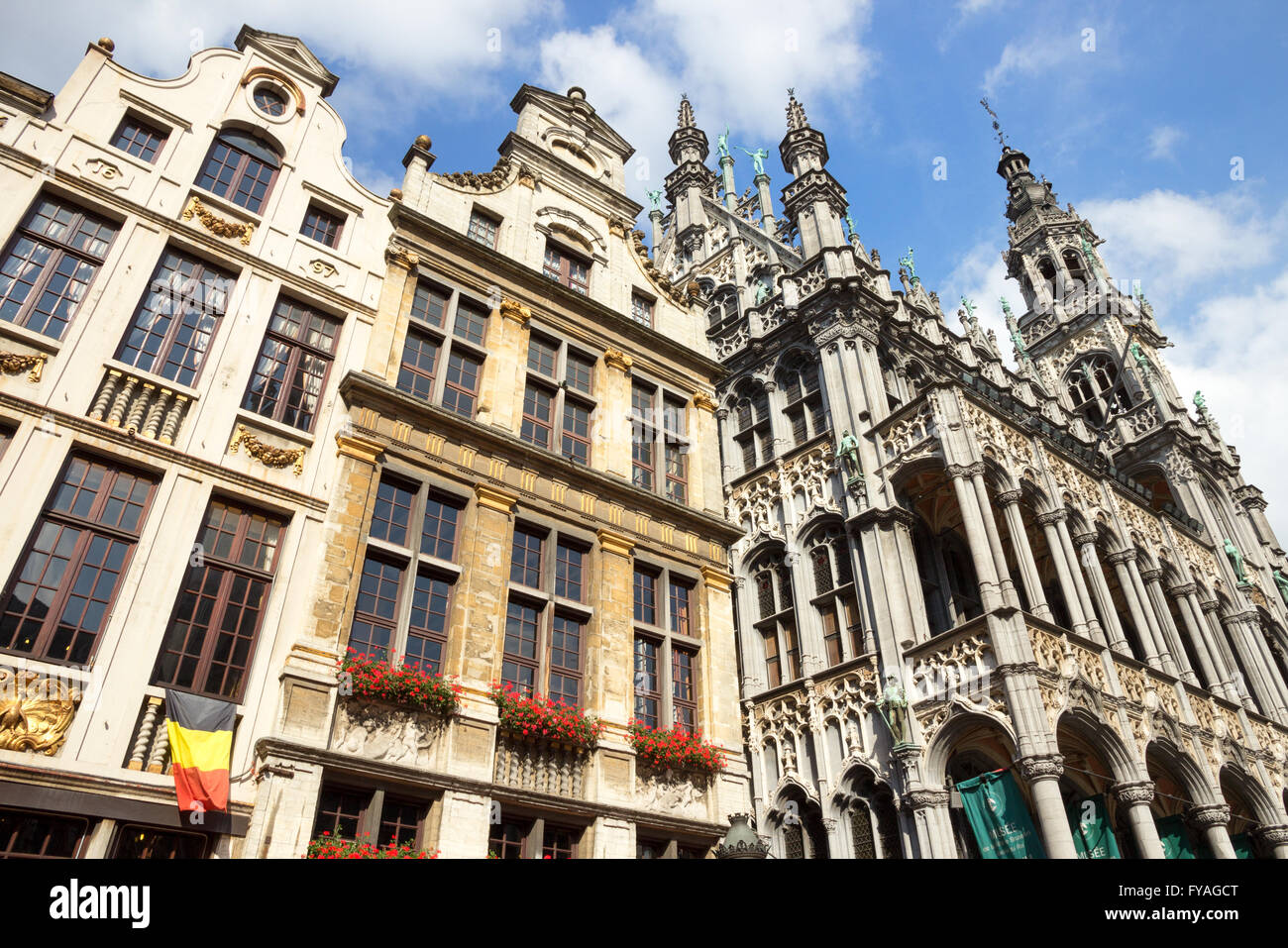 Facades on the famous Grand Place (Grote Markt) - the central square of Brussels. Stock Photo