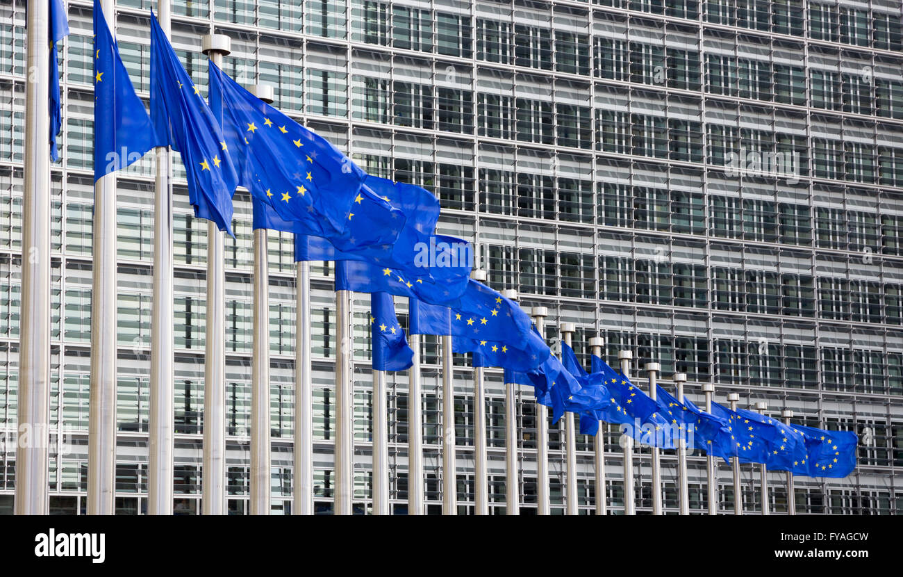 Flags in front of the EU Commission building in Brussels - Stock Image