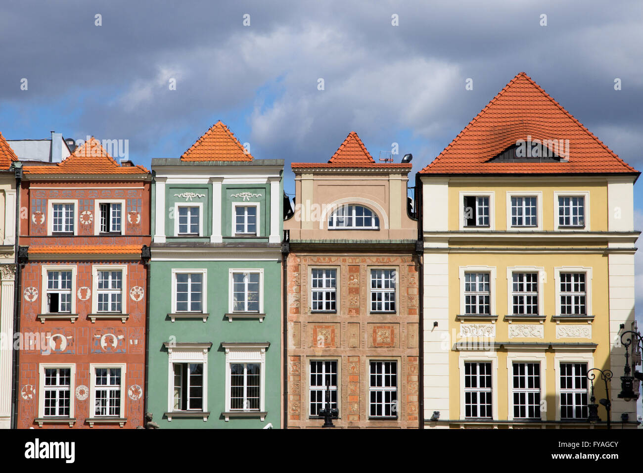 Colorful facades on the central square in Poznan. - Stock Image