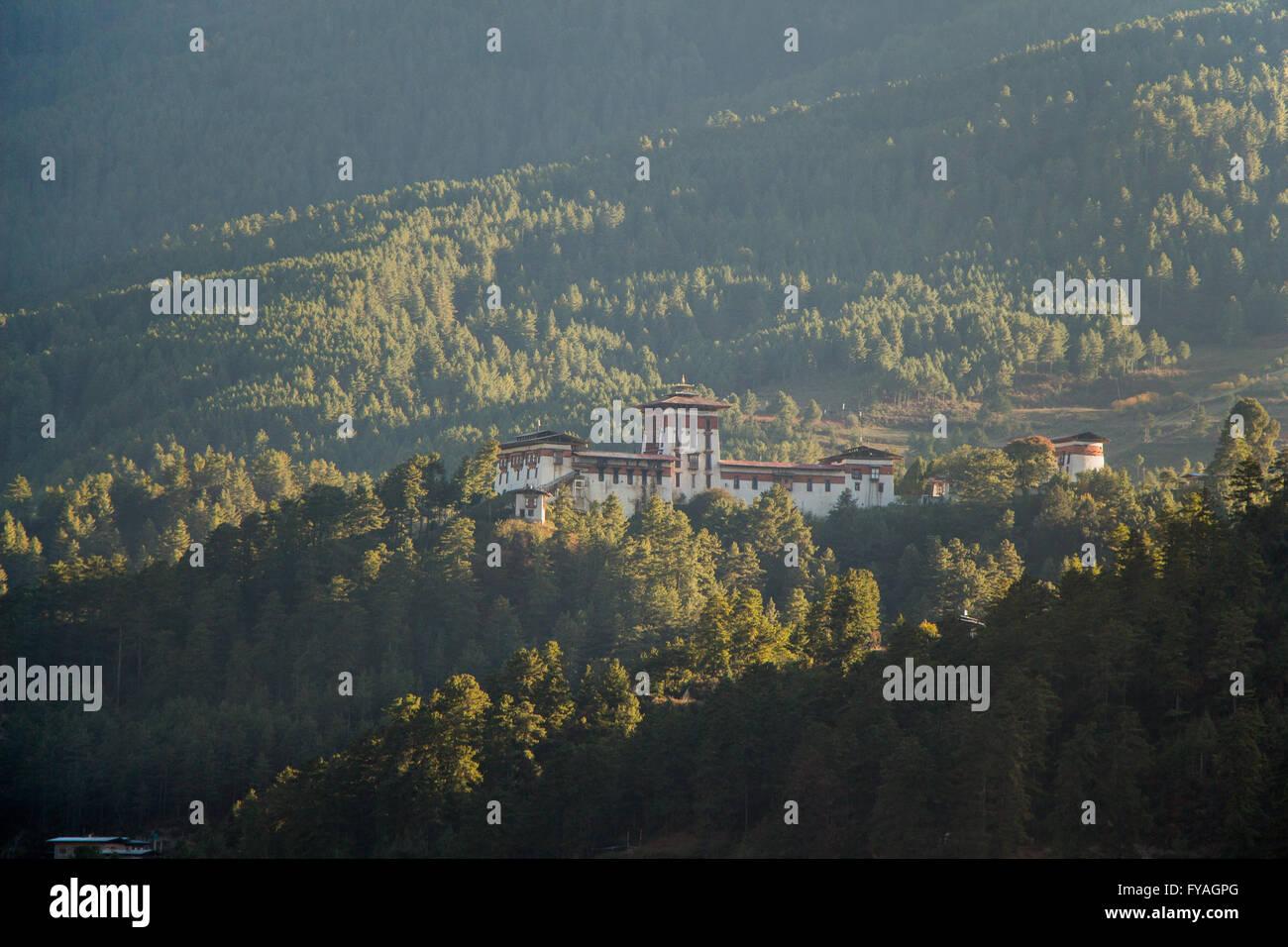 View of Jakar dzong in Bumthang, Bhutan - Stock Image