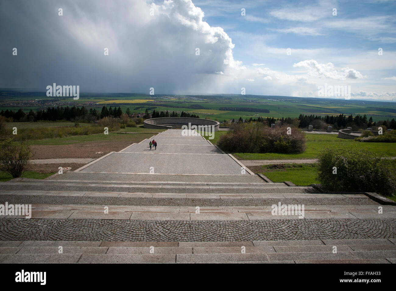 The path to the Ring Graves where the SS buried 3000 corpses between March/April 1945. At the Buchenwald Memorial, - Stock Image