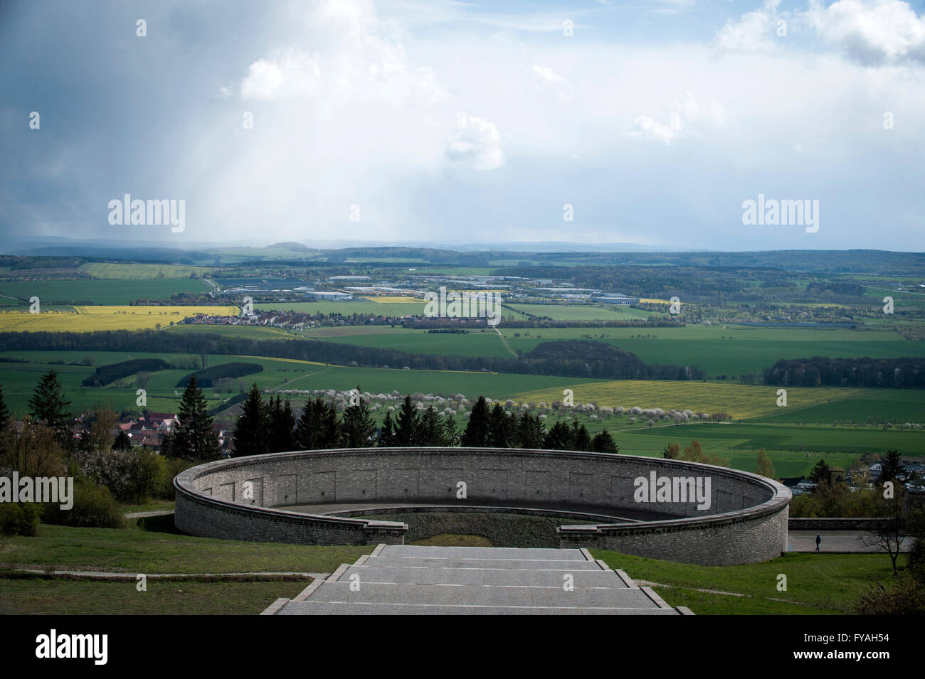 The Ring Graves where the SS buried 3000 corpses between March/April 1945. At the Buchenwald Memorial, Germany. - Stock Image