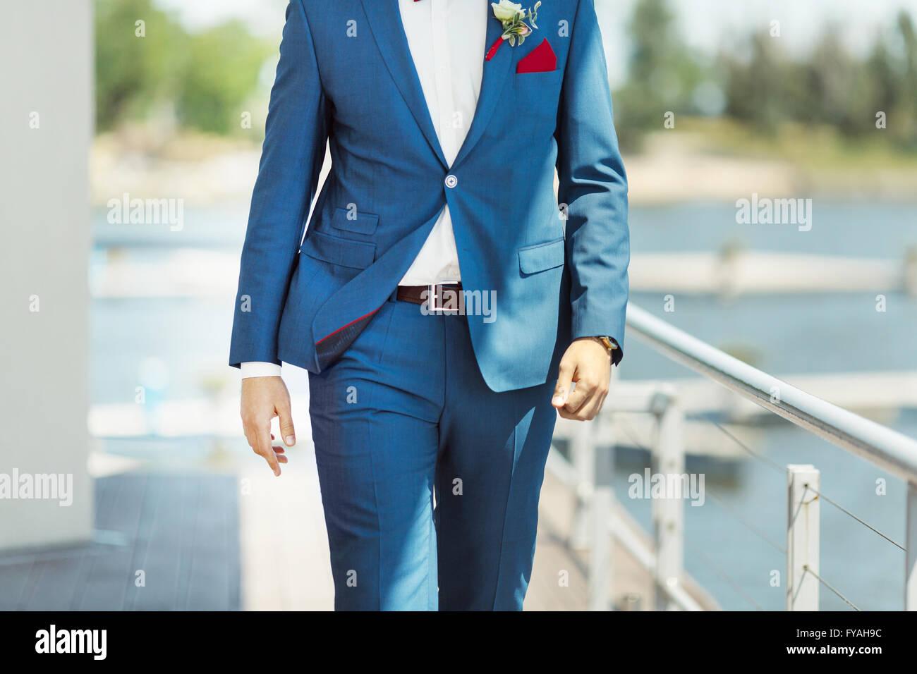 Elegant decoration on man wedding suit Stock Photo: 102880664 - Alamy