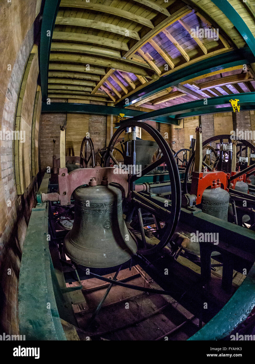 Bells in bell tower, Selby Abbey, North Yorkshire, UK. - Stock Image