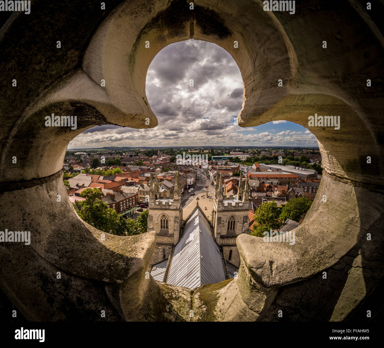 View over Selby from Abbey Roof, North Yorkshire, UK. - Stock Image