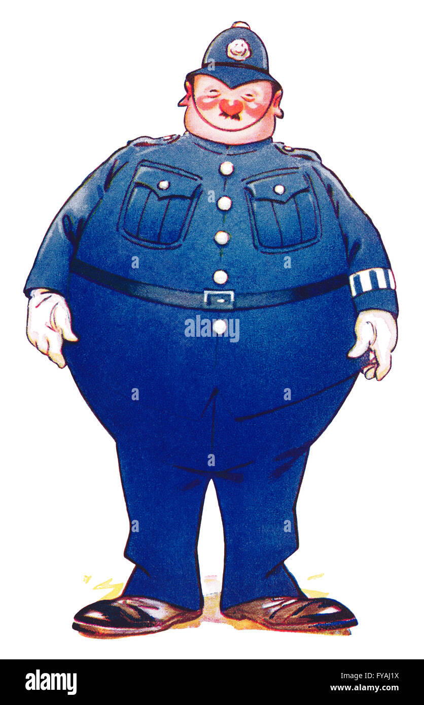 Humorous Edwardian colour illustration of a very fat policeman. - Stock Image