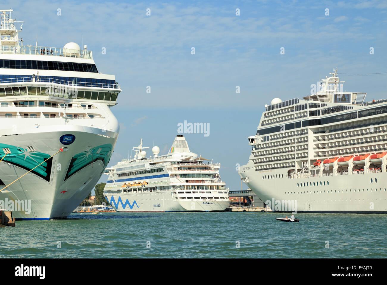 Cruise ships Norwegian Jade, AIDAvita, and MSC Poesia in the port of Venice - Stock Image