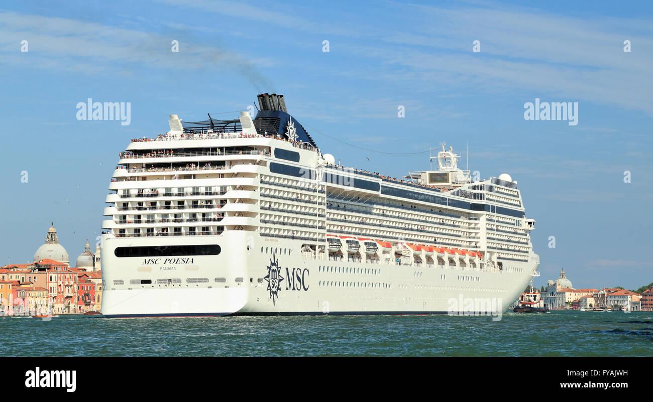 Cruise ship MSC Poesia, IMO 9387073 - Stock Image