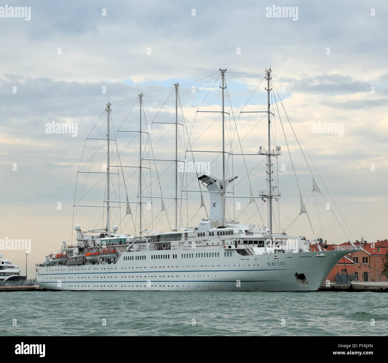 Sailing cruise ship Wind Surf, IMO 8700785, one of the largest sailing vessels in the world. - Stock Image