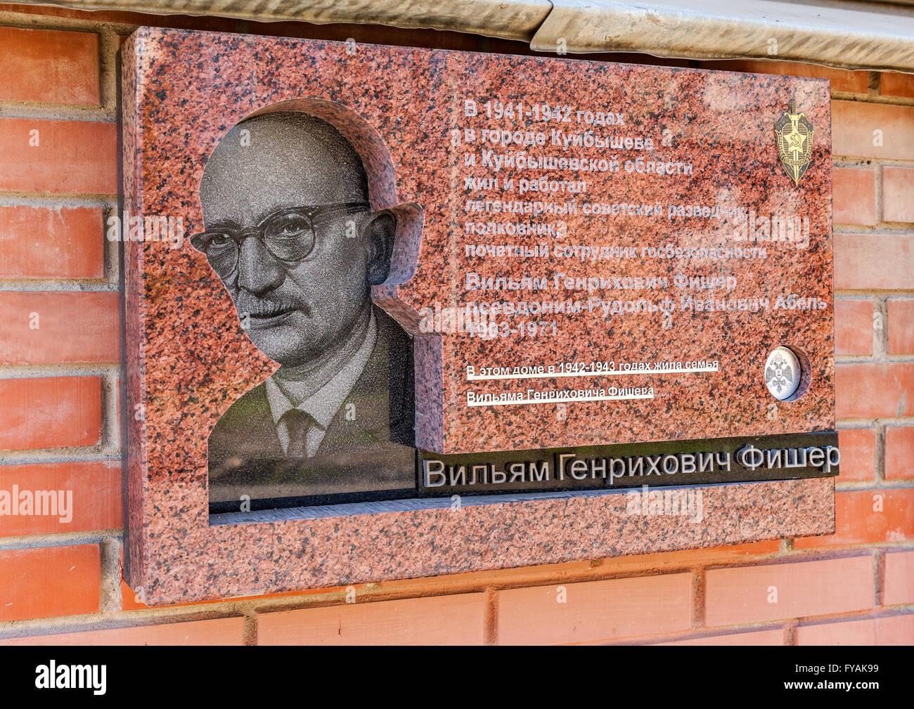 Memorial plaque dedicated to the Soviet spy Rudolf Abel (Fischer) - Stock Image