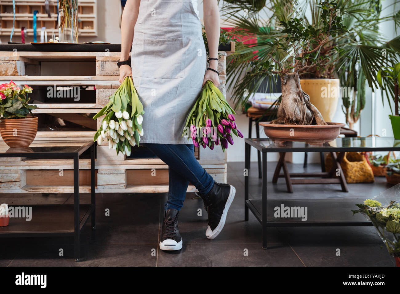 Closeup of young woman florist in apron and sneakers with two bouquets of tulips standing in flower shop - Stock Image