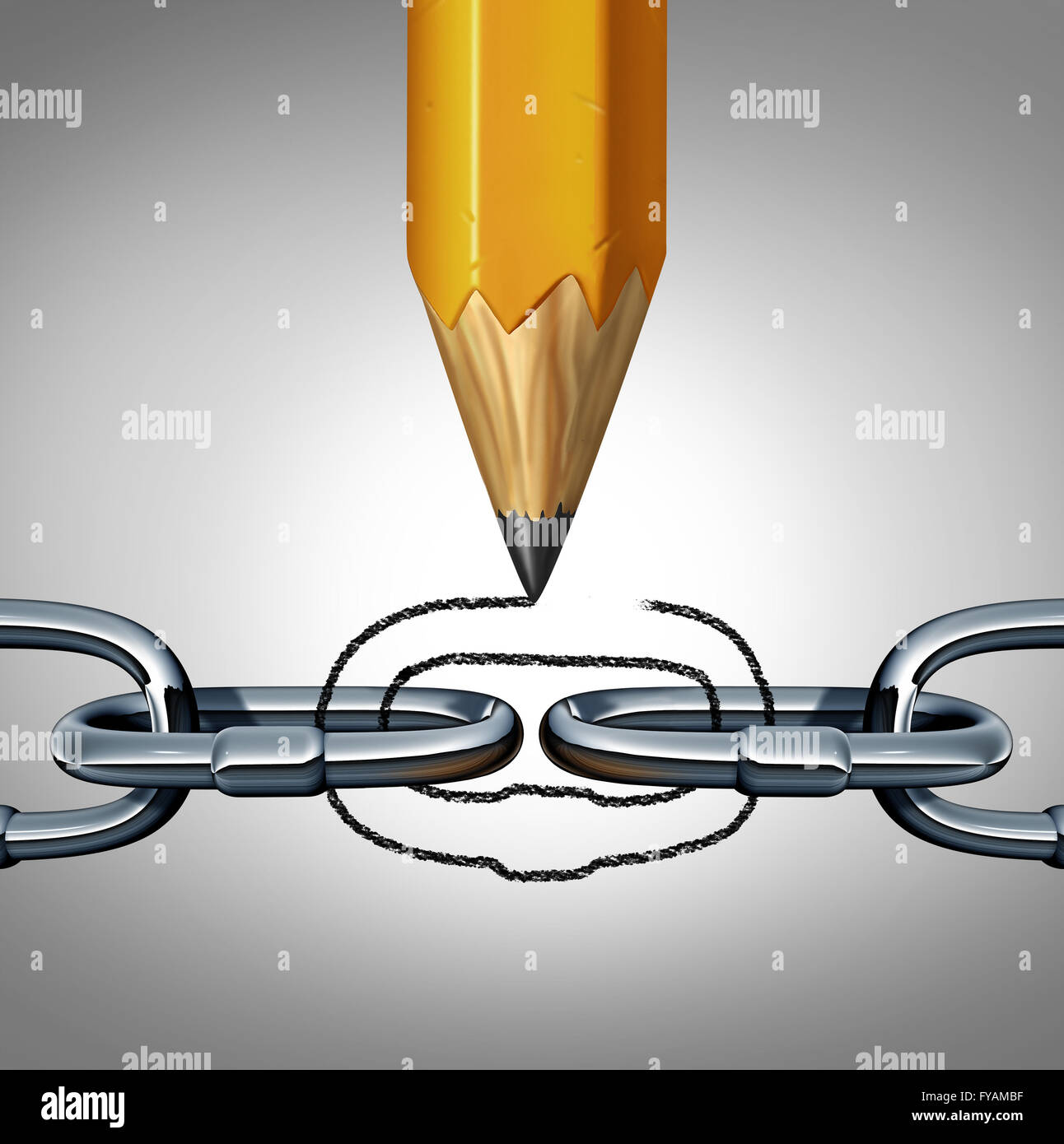 Concept of strength as a disconnected chain with a pencil drawing a link to unite the 3D illustration object as - Stock Image