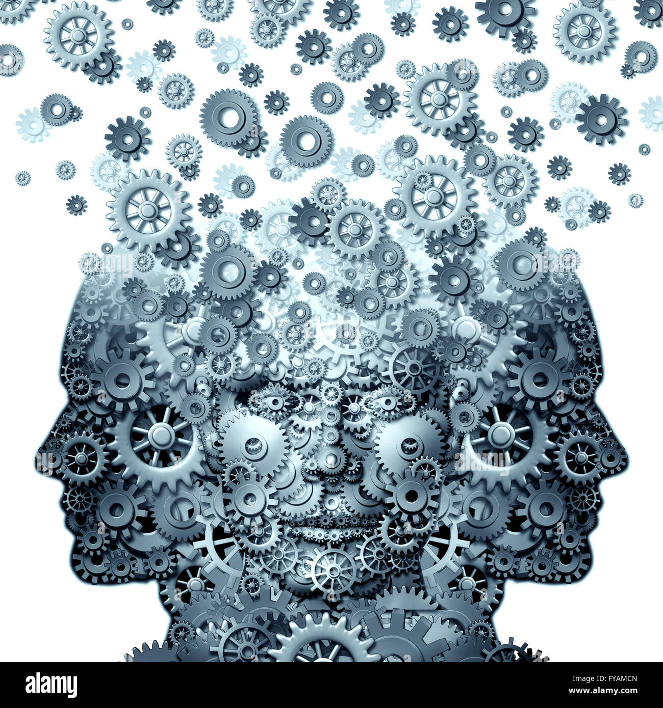 Concept of group working as a team of human heads made of gears and cogs that work together as a leadership concept - Stock Image