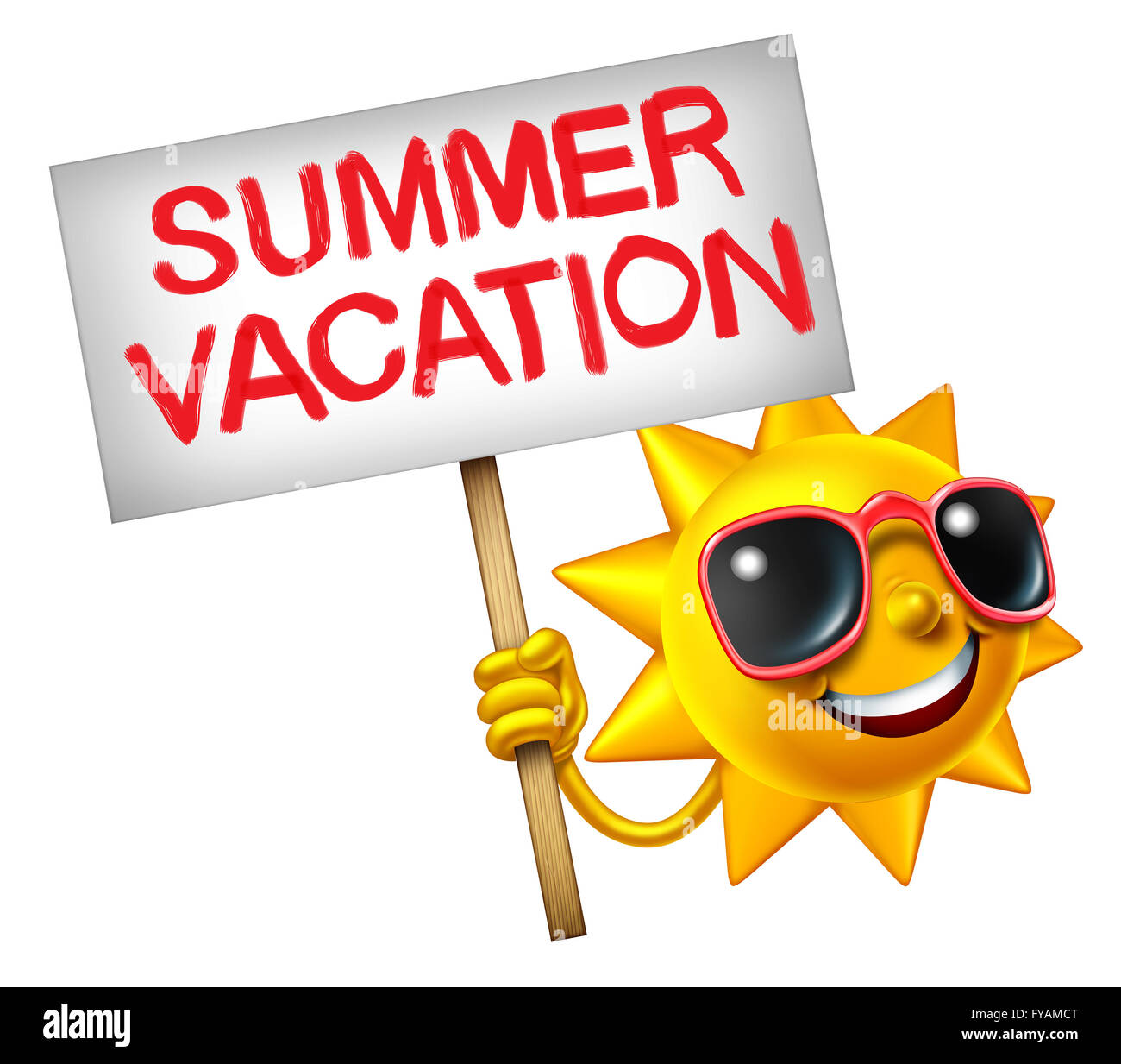 Summer vacation symbol as a hot sun character holding a sign with painted text as a travel icon for relaxing in - Stock Image