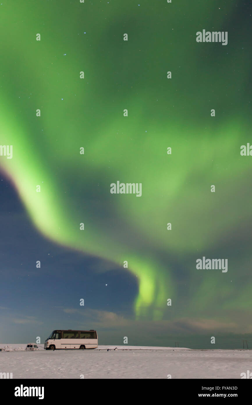 Northern Lights / Aurora borealis, weather phenomenon showing natural light display in winter, Iceland - Stock Image