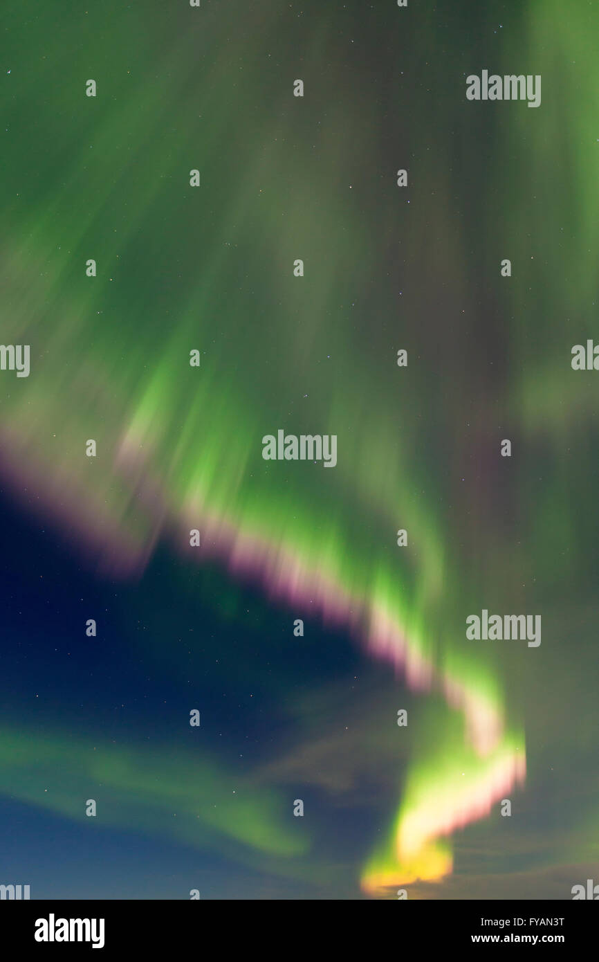 Northern Lights / Aurora borealis, weather phenomenon showing light display over the Joekulsarlon Lagoon in winter, - Stock Image