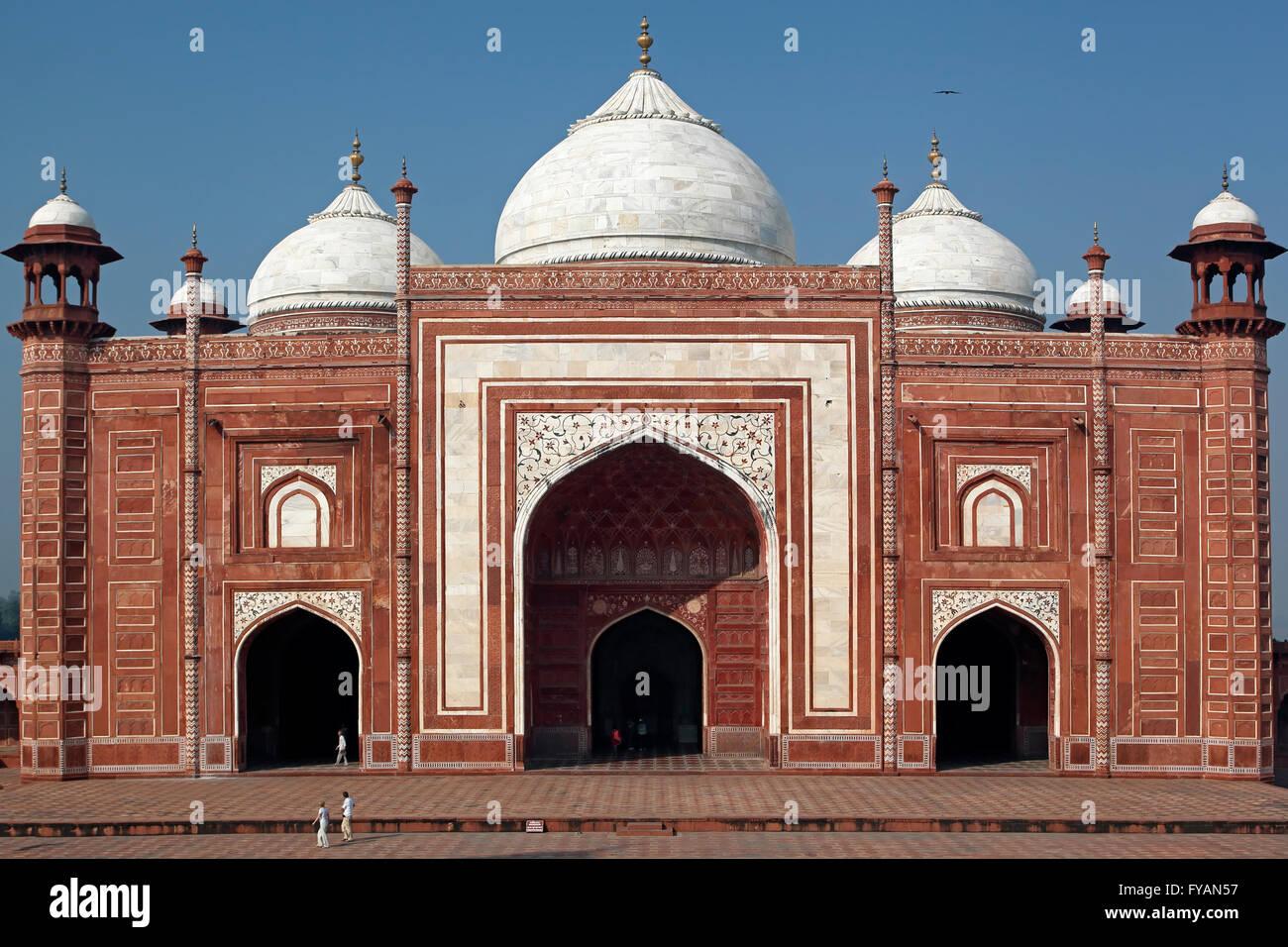 Taj Mahal mosque (masjid), Agra, Uttar Pradesh, India - Stock Image