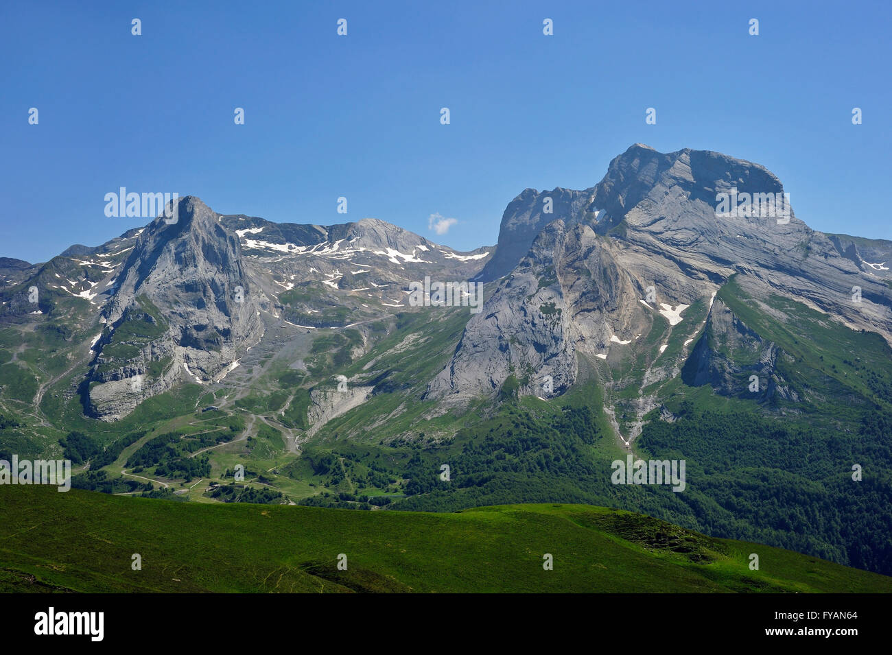 View over the Cirque de Gourette and the Massif du Ger seen from the Col d'Aubisque in the Pyrenees, France - Stock Image