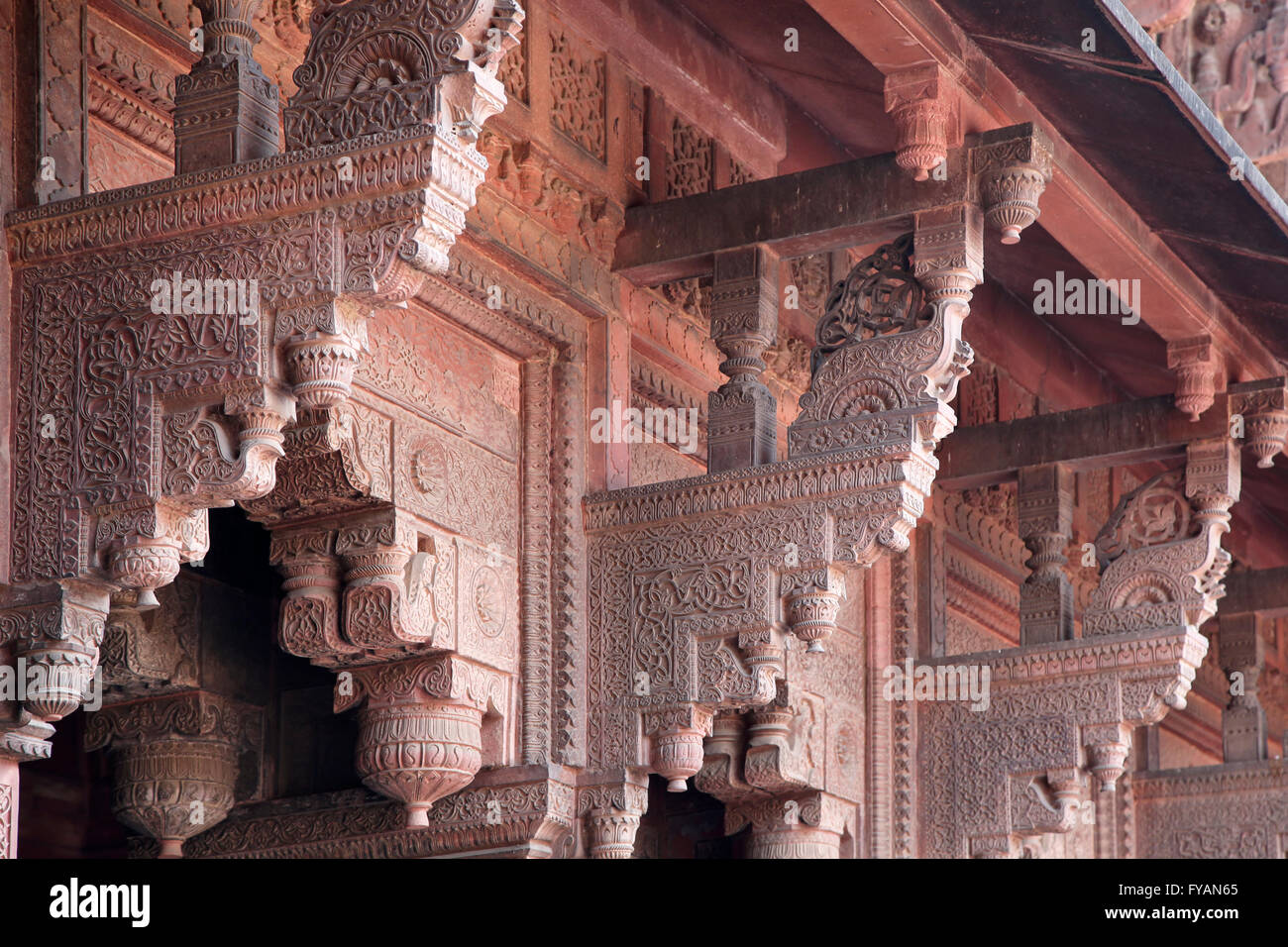 Elaborate wall supports, Agra Fort, Agra, Uttar Pradesh, India - Stock Image