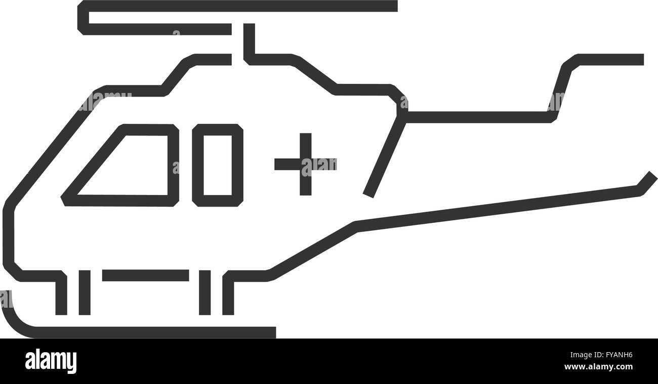 line icon ambulance helicopter icon - Stock Image