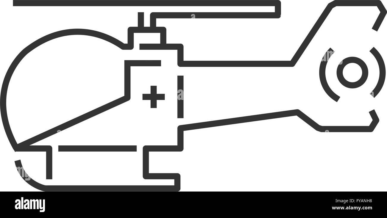 line icon design ambulance helicopter icon - Stock Image