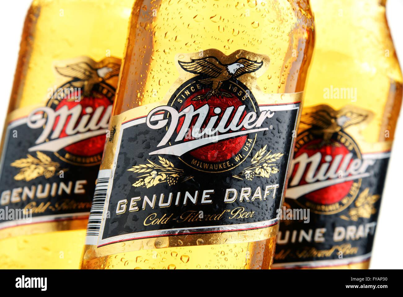 Bottles of Miller Genuine Draft beer - Stock Image