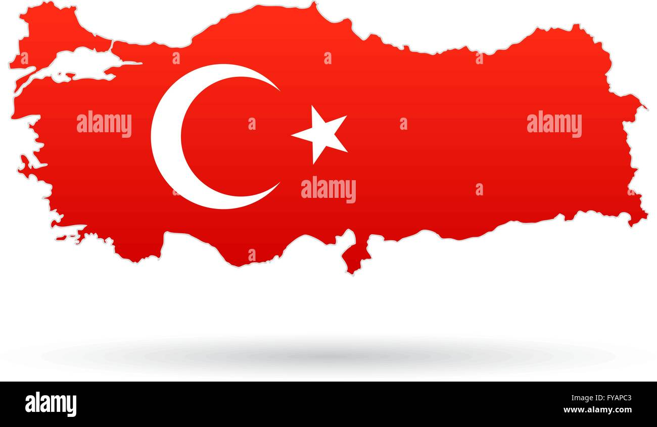 Turkey map flag red with moon and star Stock Vector Art