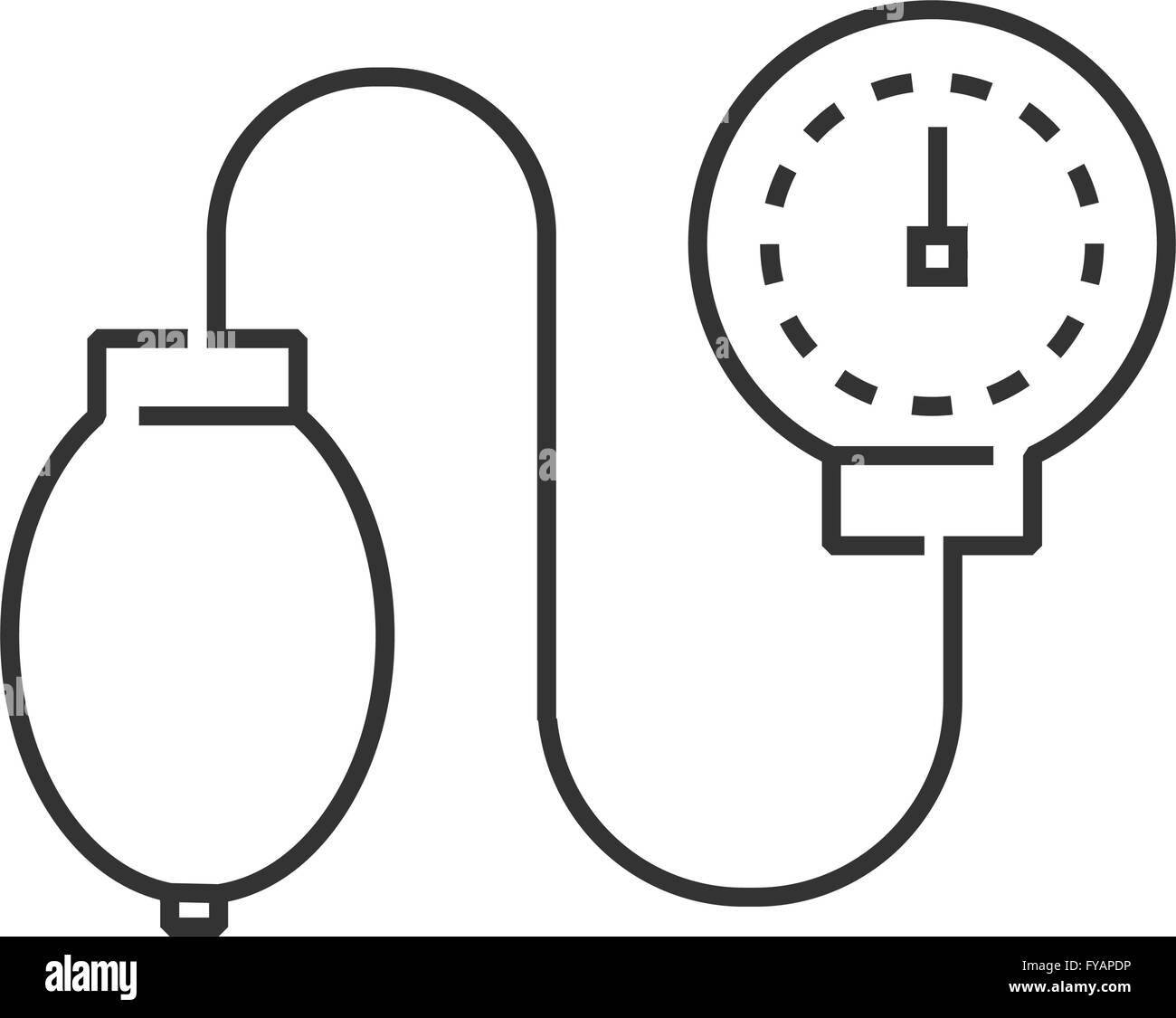 line icon Medical Device Icon, Check pressure - Stock Image