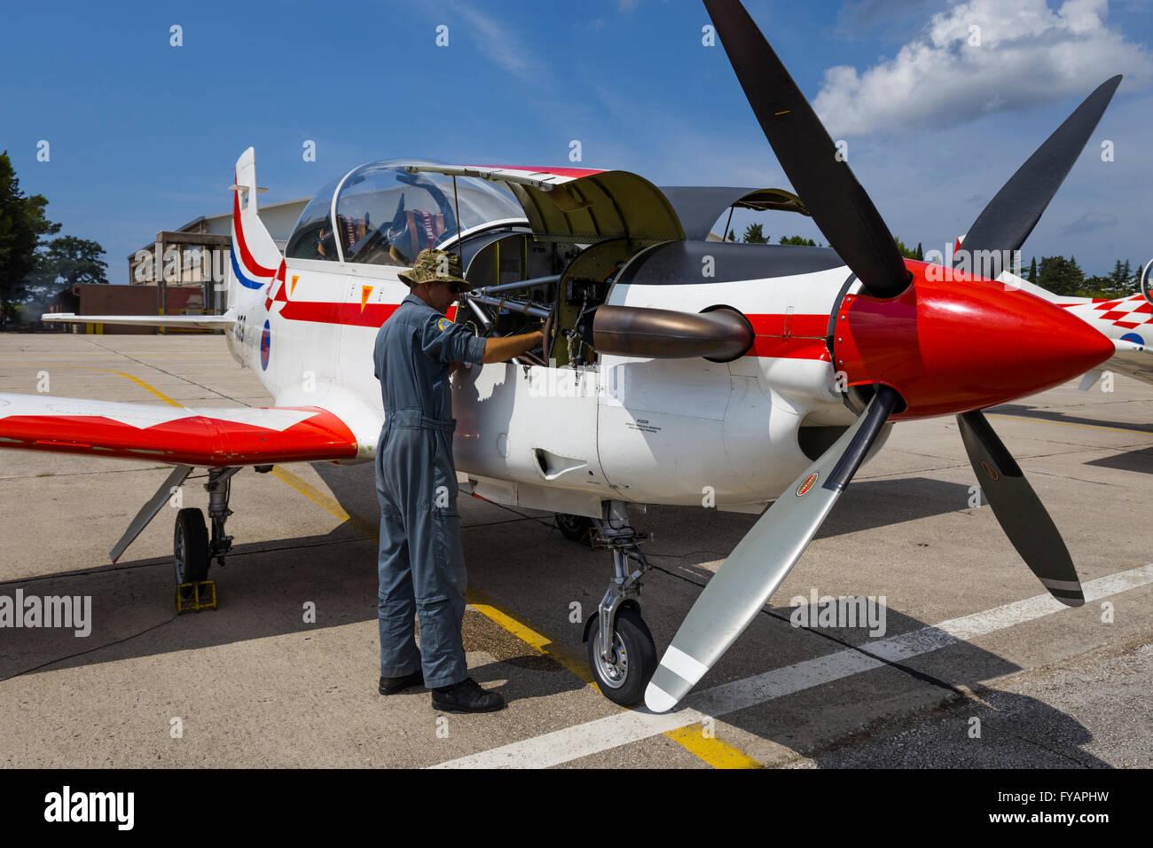 Aviation mechanic Stock Photo