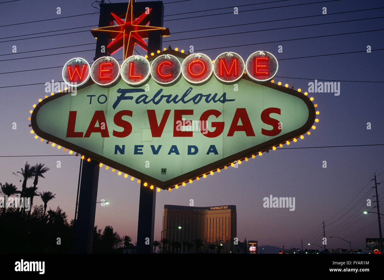 USA, Nevada. Las Vegas old time sign at city limits - Stock Image