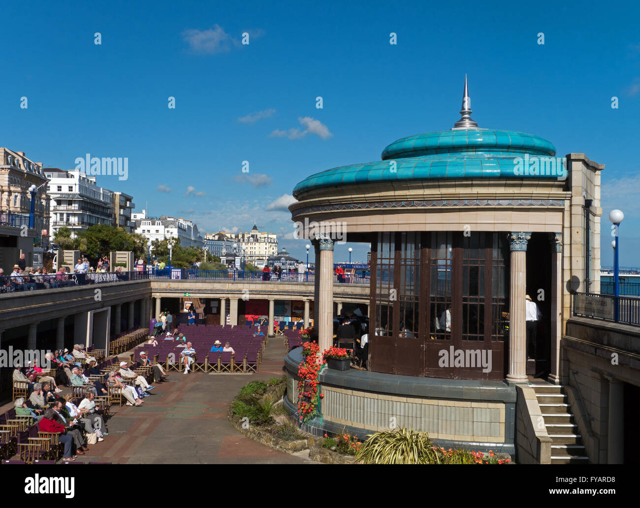 The Famous Eastbourne Bandstand and Seafront, Eastbourne, East Sussex, England - Stock Image