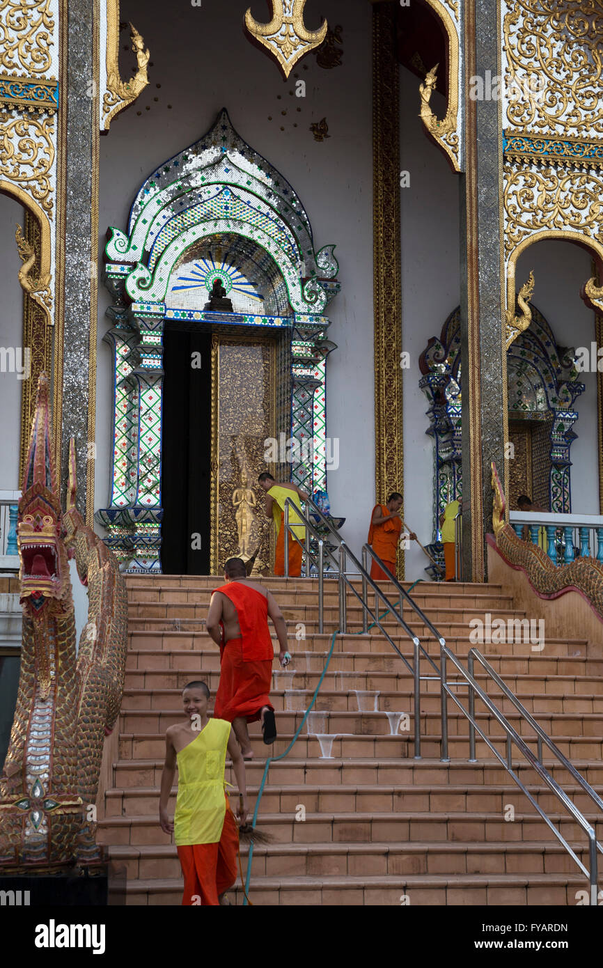 Thai Monk blessing - Stock Image