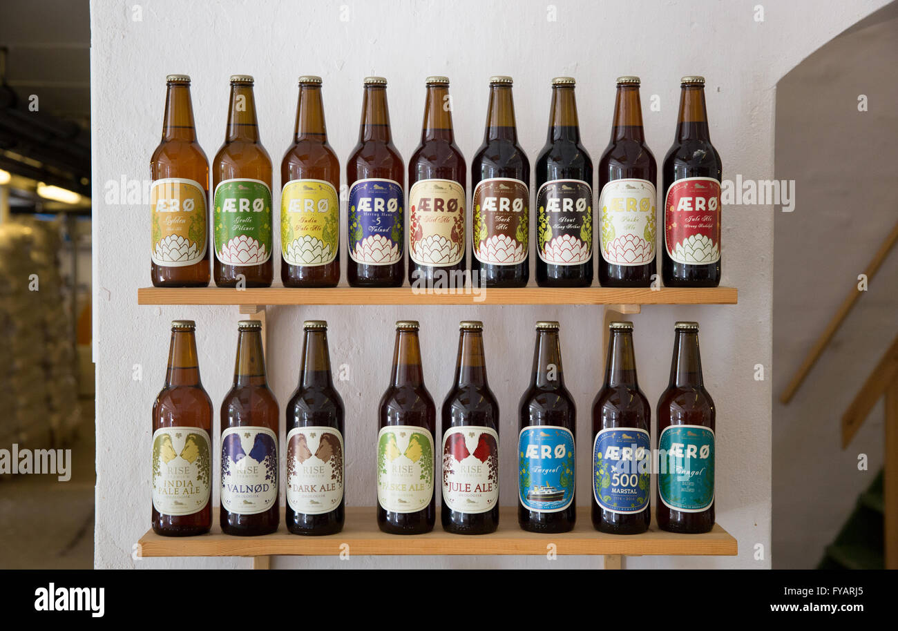A display of various ales crafted in the Rise Brewery on the Danish island of Aero, Denmark - Stock Image