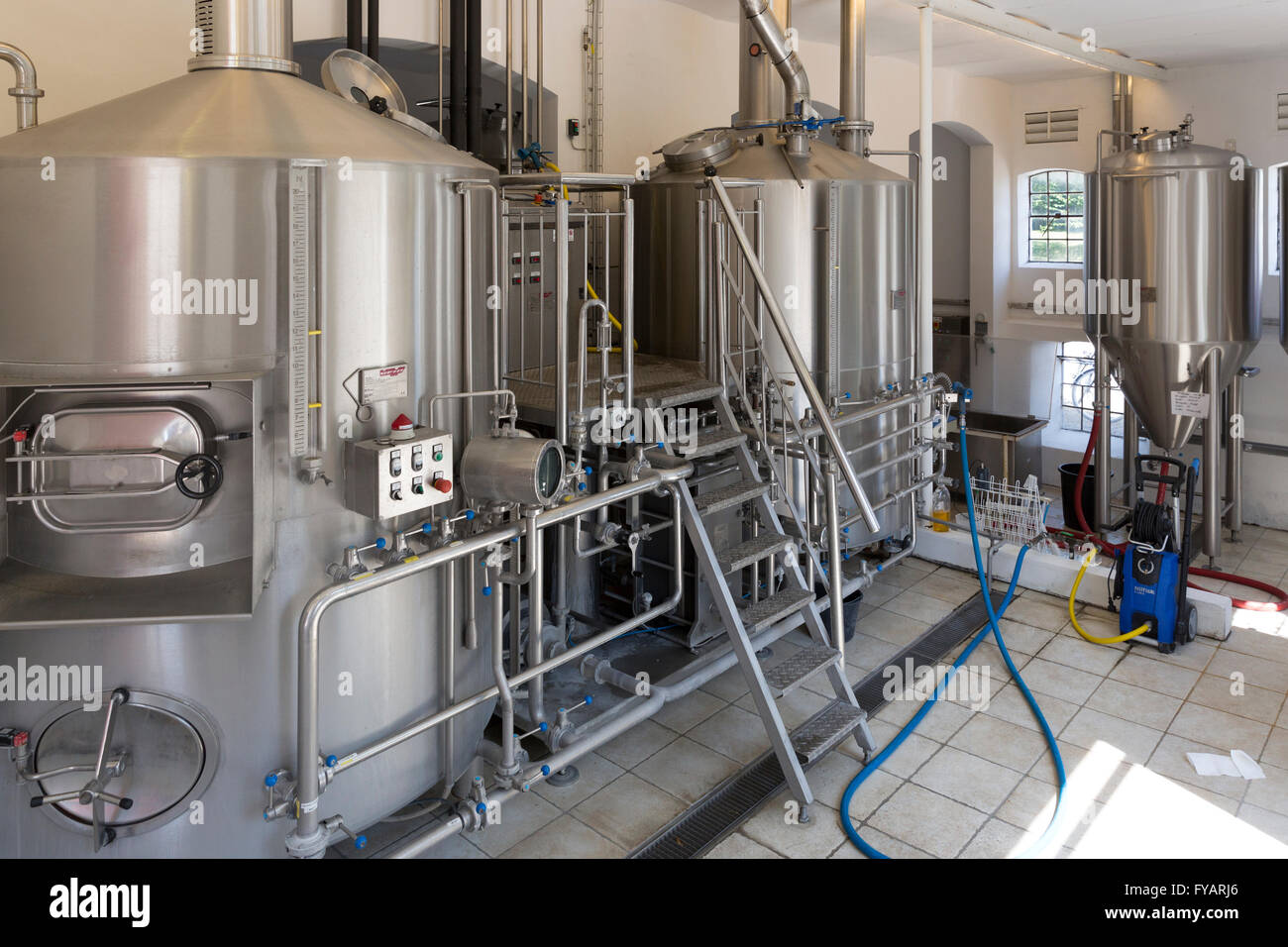 The interior of the Rise Brewery (Rise Bryggeri) on the island of Aero, Denmark - Stock Image