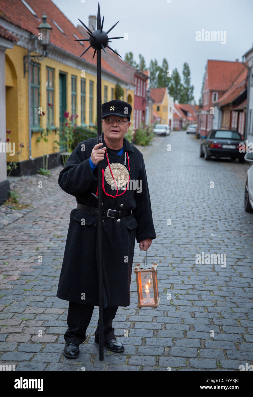 The night watchman tour guide in Ærøskøbing, Denmark Stock Photo