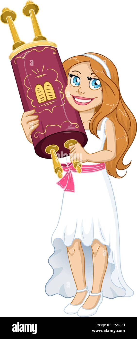 Vector illustration of a Jewish girl holds the Torah for Bat Mitzvah. - Stock Vector