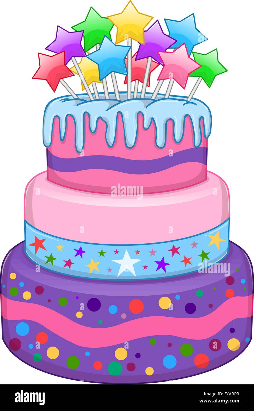 Vector illustration of 3 floors birthday cake with colorful stars on