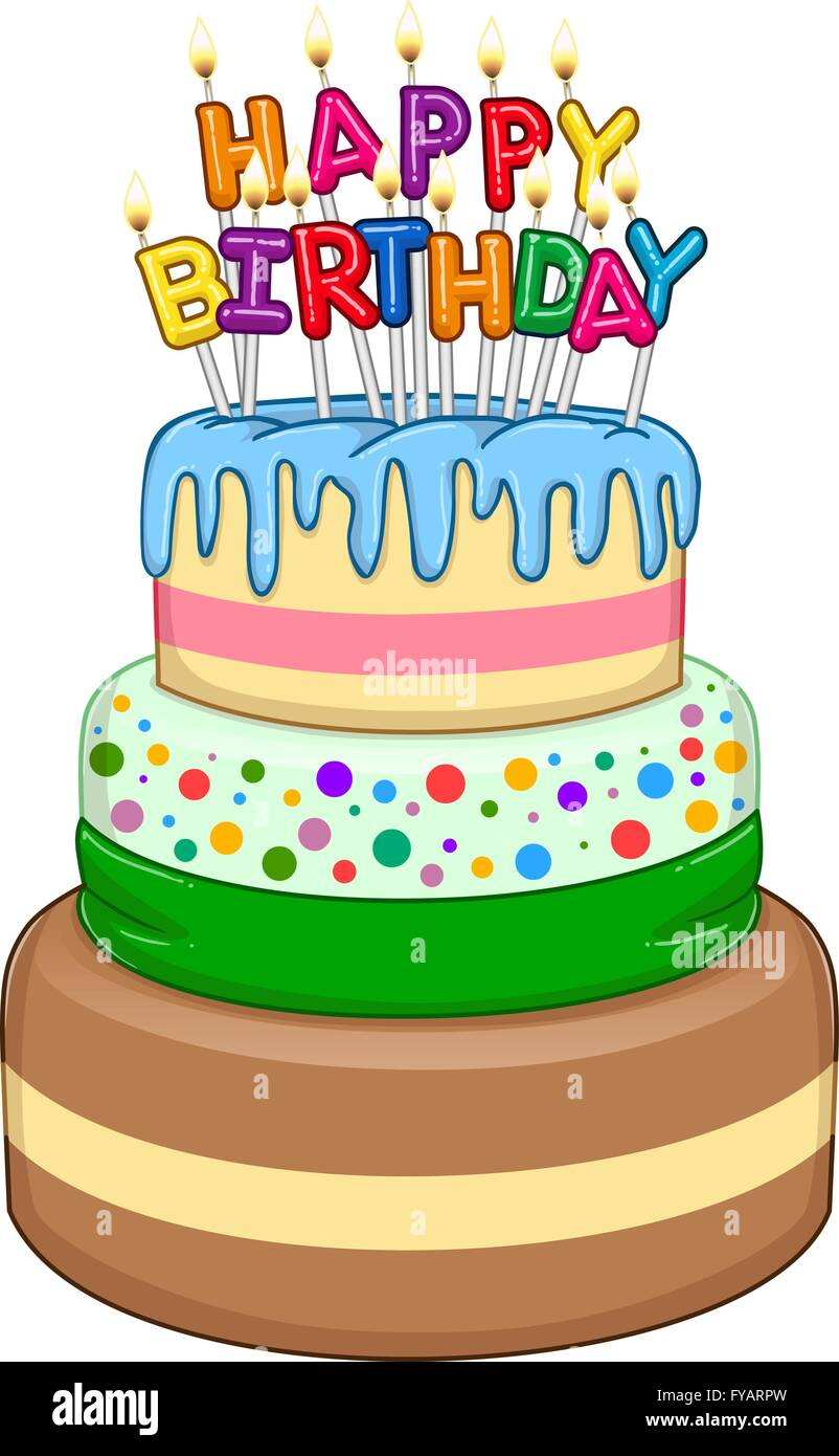 Vector illustration of 3 floors birthday cake with Happy Birthday